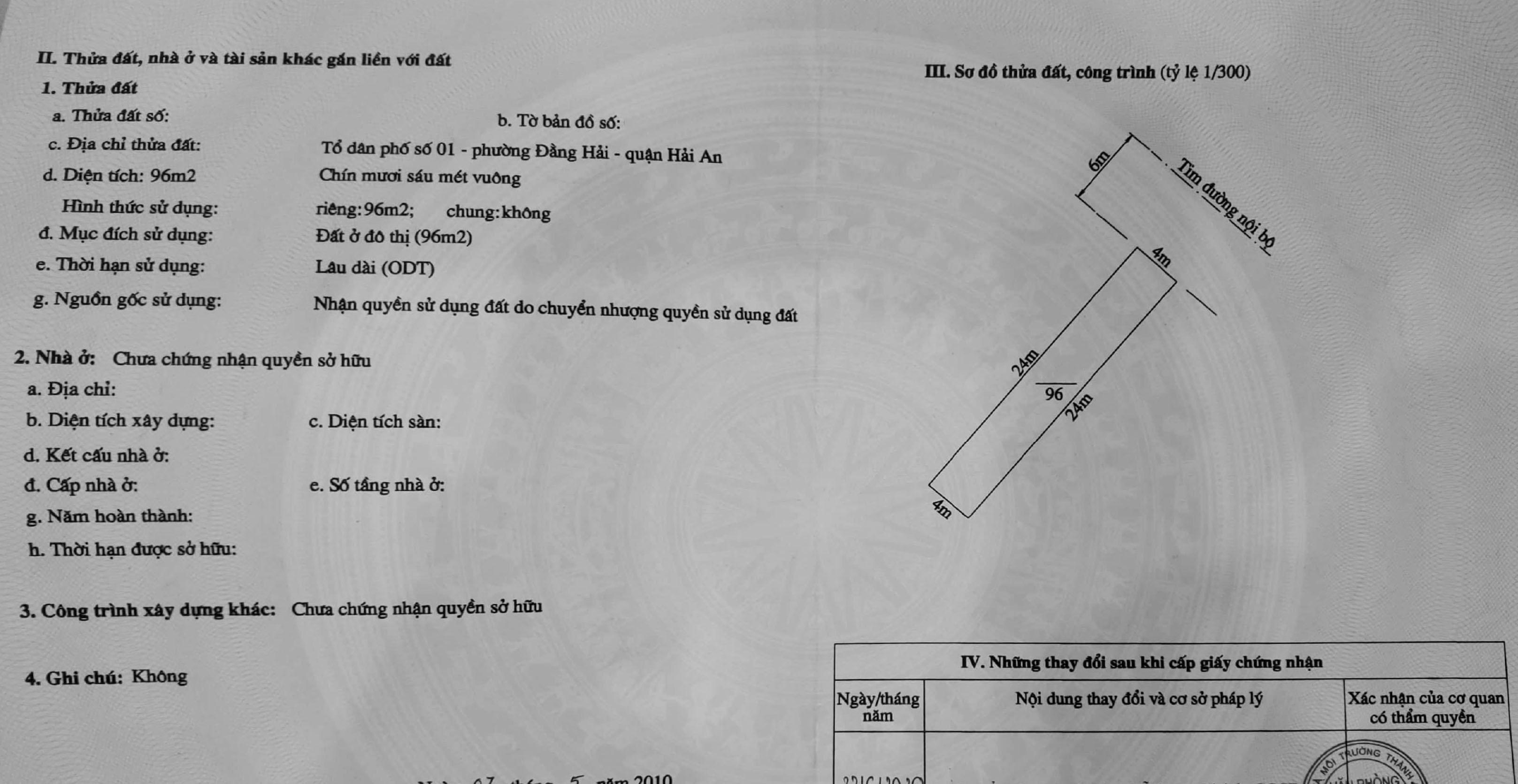 Bán nhanh lô đất TĐC Gốc Lim, Đằng Hải, Hải An, Hải Phòng