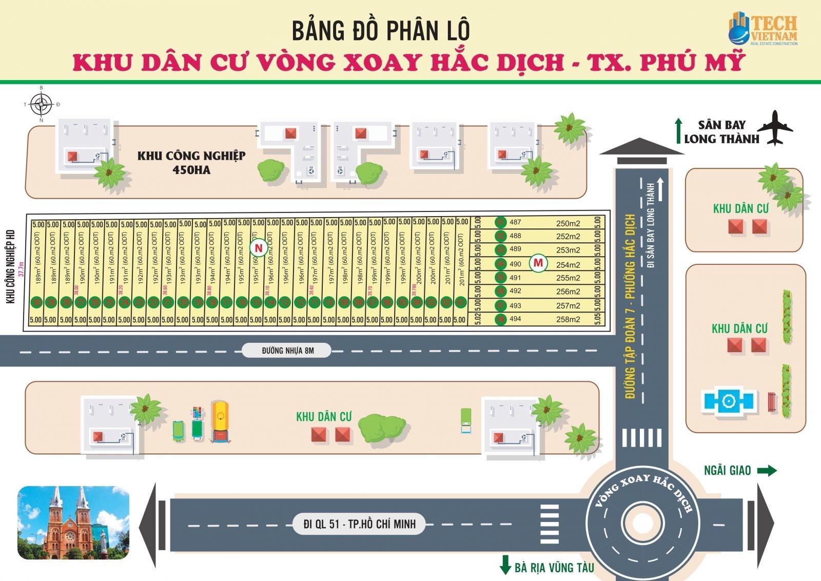 Bán đất sổ hồng liền tay gần vòng xoay Hắc Dịch, Tx Phú Mỹ